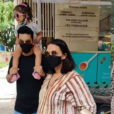 Watch: Neha Dhupia, Angad Bedi forget to cover Mehr's face, actress rushes to daughter after being clicked by paps