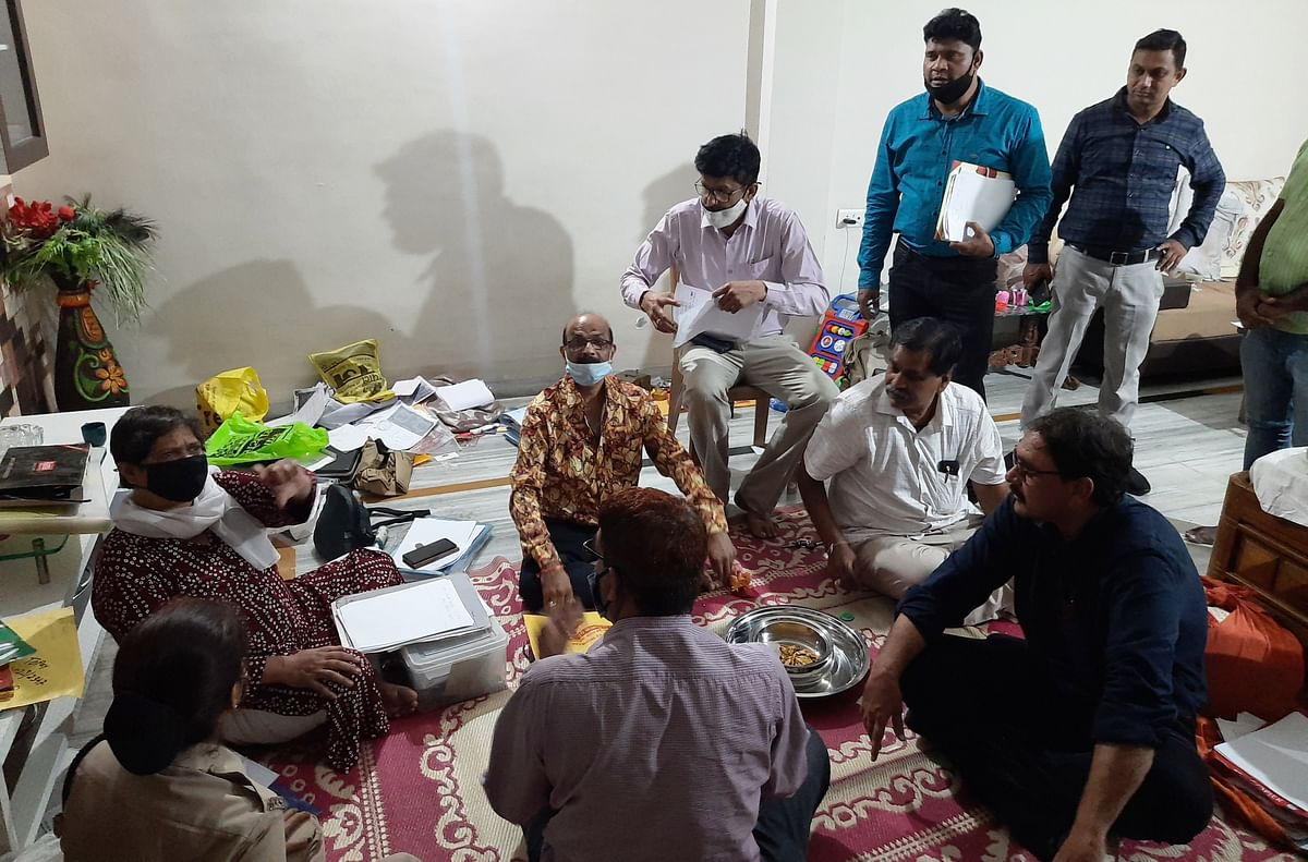 Lokayukta team at Devendra Kumar Jain's house in Indore on Saturday