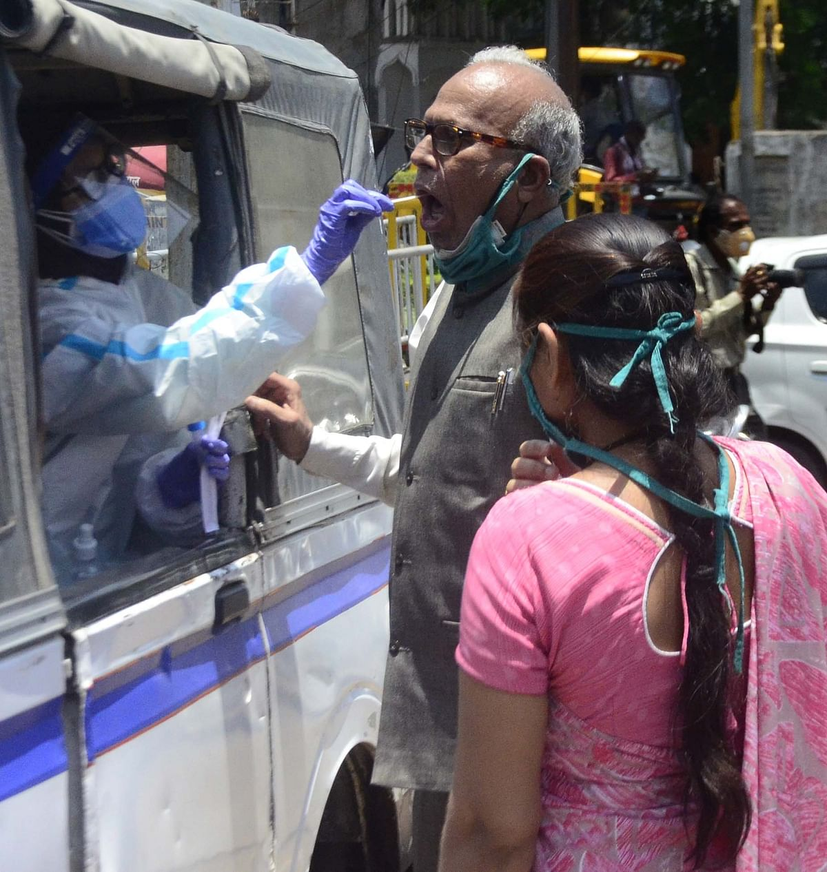 A man getting tested for Coronavirus in Bhopal