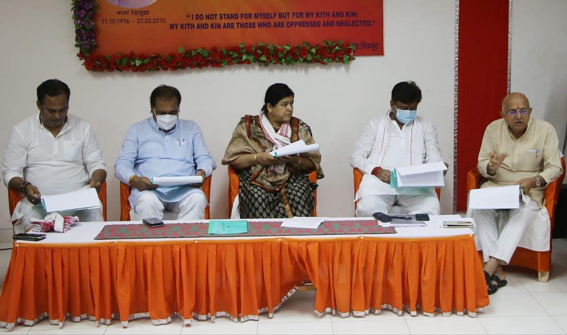 Culture minister Usha Thakur (centre) in Chitrakoot on Saturday