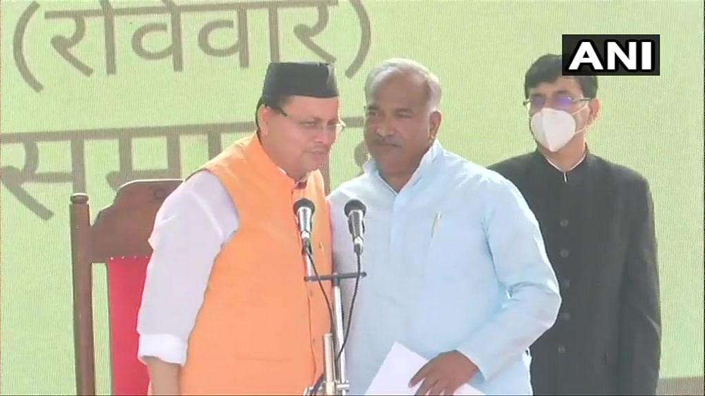 BJP MLA Arvind Pandey took oath as Minister of School & Sanskrit Education, Sports, Youth Welfare & Panchayati Raj in the new State Cabinet of Uttarakhand at Raj Bhawan, in Dehradun on Sunday.