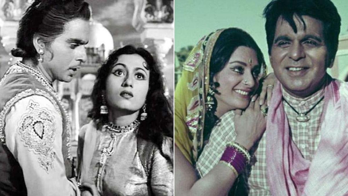 Dilip Kumar with Madhubala (L) and Saira Banu (R)