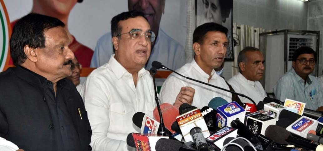 AICC general secretary Ajay Maken addressing a press conference at MPCC office in Bhopal on Wednesday.