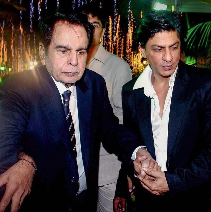Dec 12, 2011 file image Bollywood veteran actor Dilip Kumar with actor Shah Rukh Khan celebrates his 89th birthday in Mumbai.