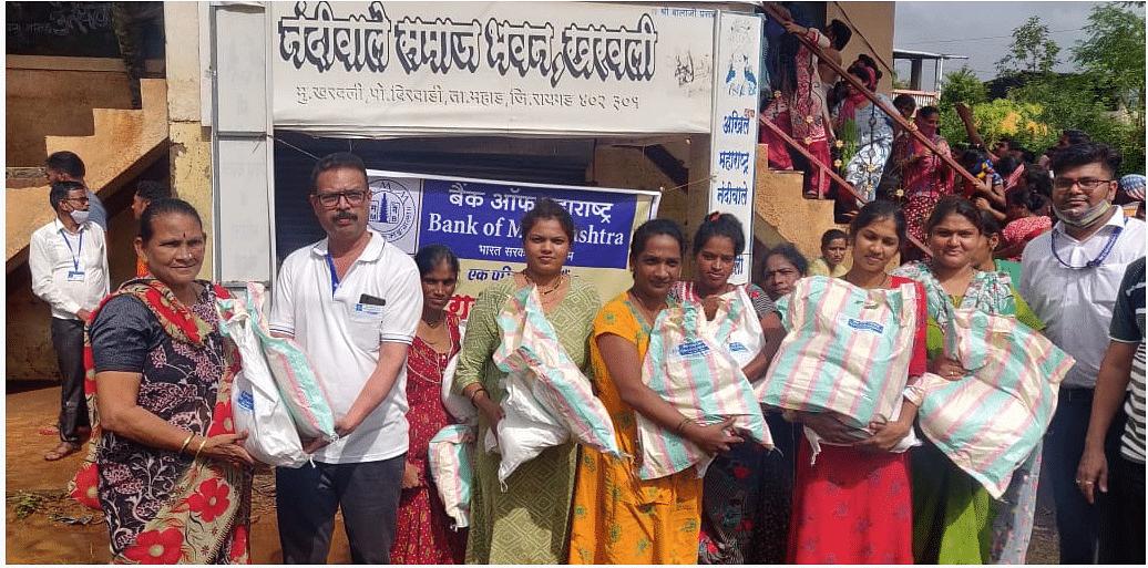Bank of Maharashtra distributes relief material at Mahad in Raigad District