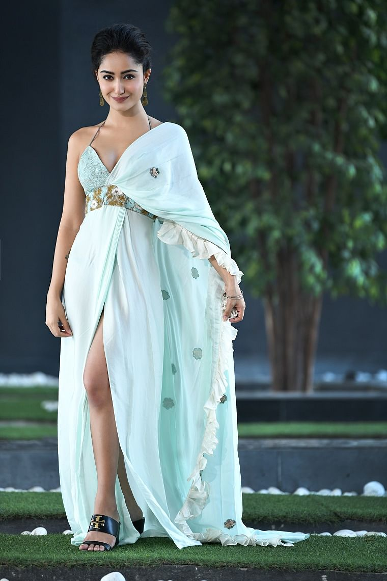 Saree gown with chanderi ruffles and embroidered border