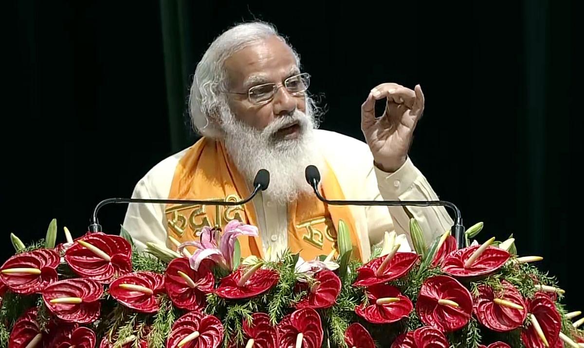 Prime Minister Narendra Modi addresses during the inauguration ceremony of Rudraksha Convention Centre, in Varanasi on Thursday.