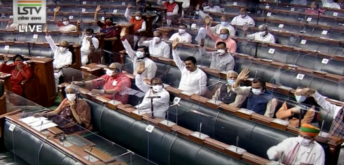 Proceedings of Lok Sabha during the Monsoon session of Parliament, in New Delhi on Tuesday.