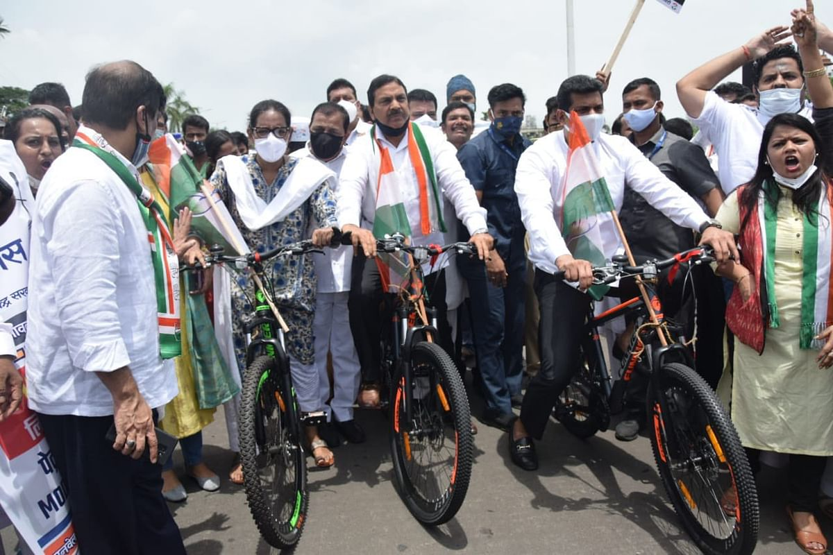 Photos: Congress organises cycle rallies in Maharashtra's Nagpur, Mumbai and Nashik as part of nationwide protest against fuel price hike