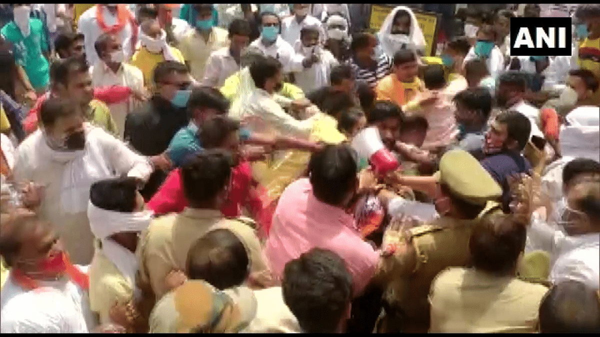 Supporters of a BJP & independent candidate clash in Bulandshahr during nomination filing for the block president election on July 8, 2021.