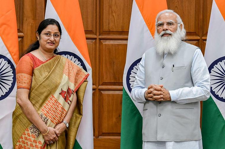 MP Annpurna Devi with Prime Minister Narendra Modi before taking oath at 7, Lok Kalyan Marg in New Delhi.