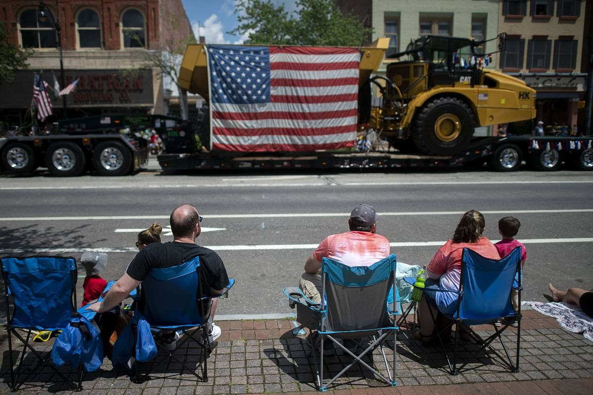 eople sit in chairs to observe a 4th of July parade on July 4, 2021 in Pottstown, Pennsylvania. Americans are resuming the celebrations of Independence Day as the COVID-19 pandemic lessens in severity.