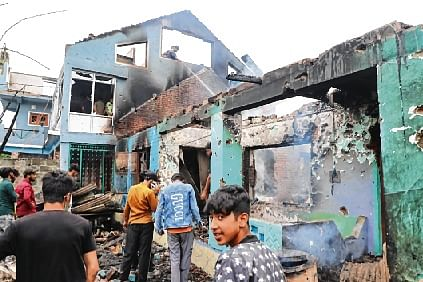 A view of a house damaged in an encounter between the security forces and militants in Pulwama, south Kashmir.