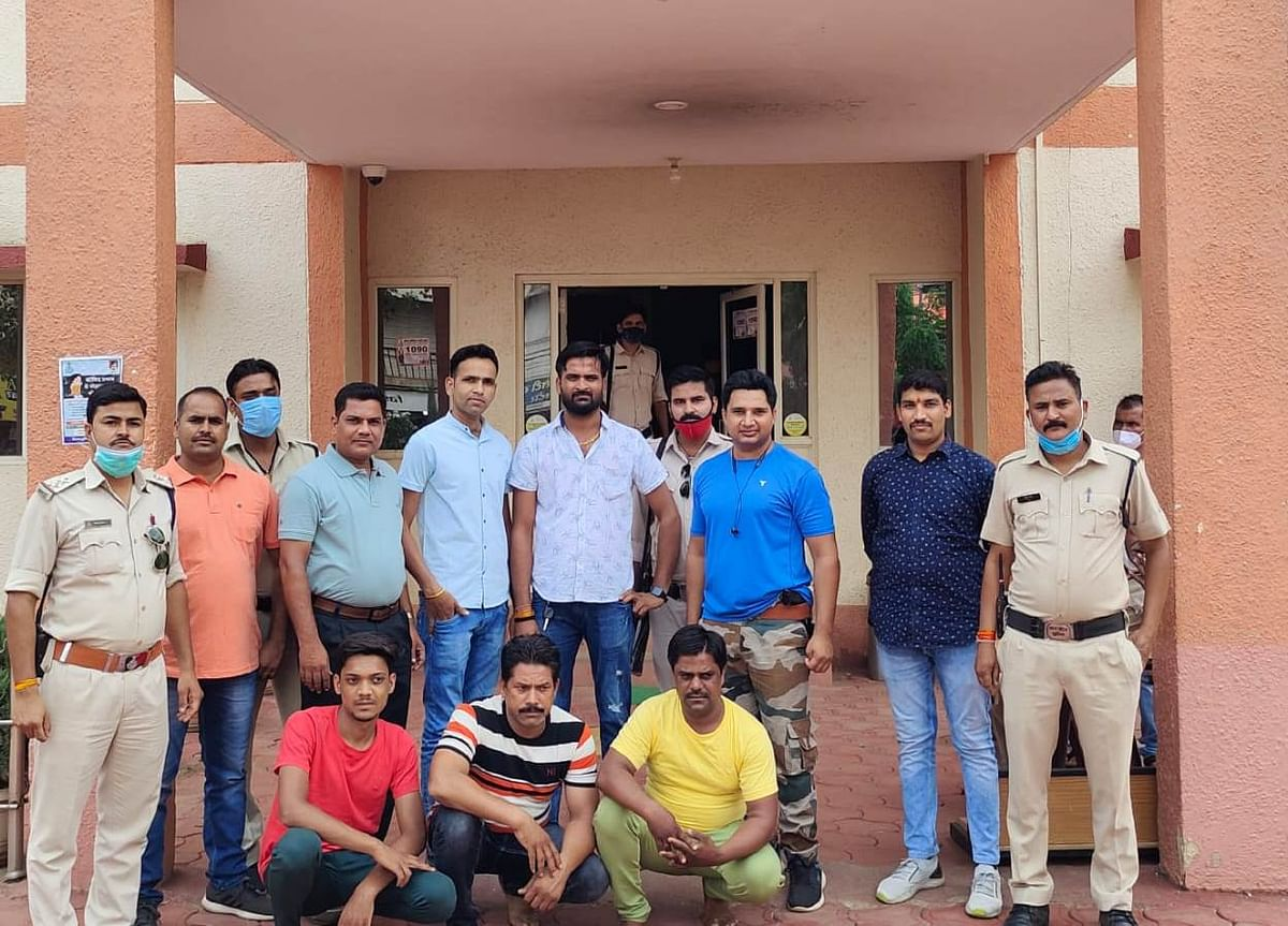 Police with accused