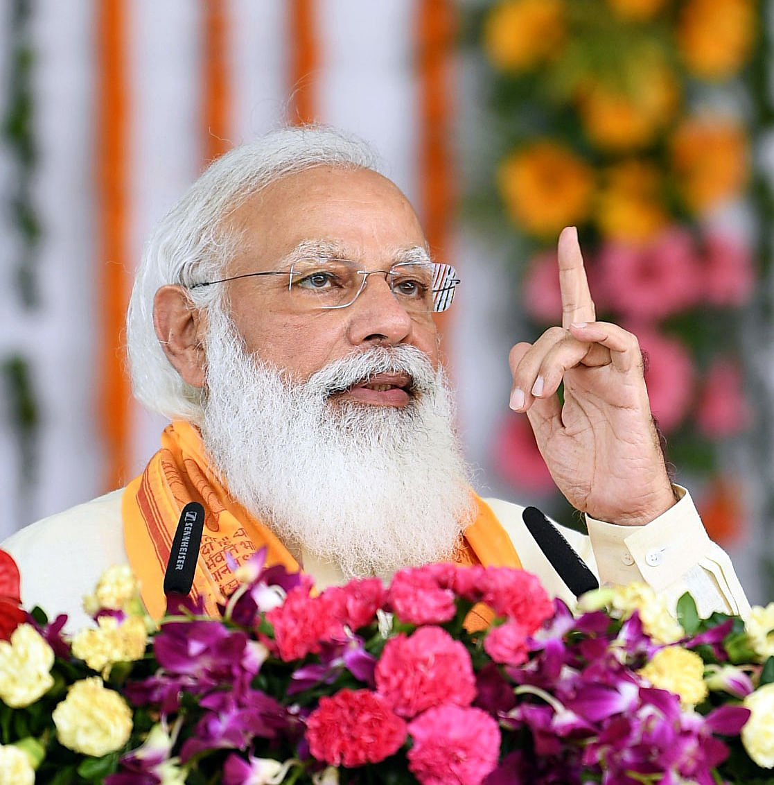 Prime Minister Narendra Modi addresses during the inauguration and foundation stone laying ceremony of multiple development projects, in Varanasi on Thursday.
