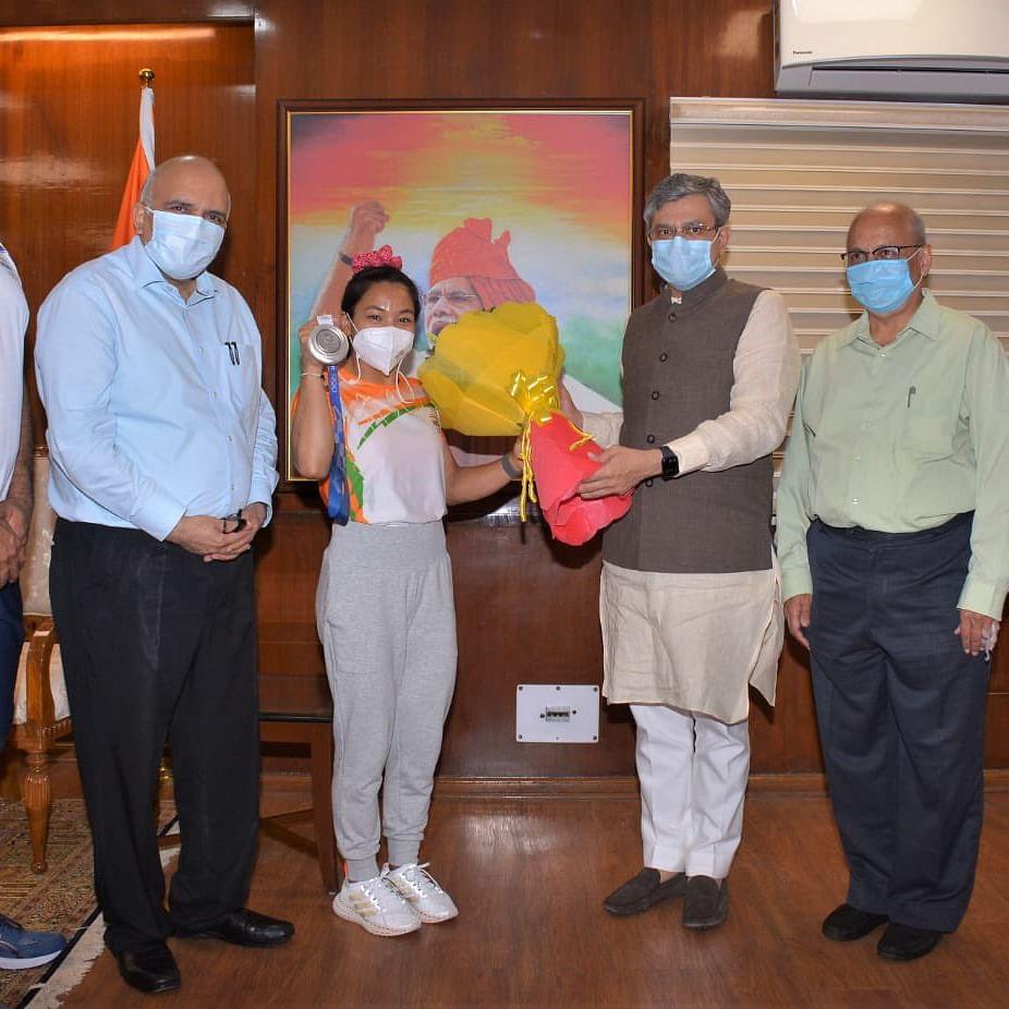Union Minister Ashwini Vaishnaw announces Rs 2 cr reward, promotion for Tokyo Olympics medallist Mirabai Chanu