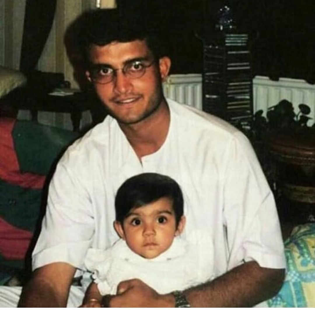 Sourav Ganguly with his baby girl