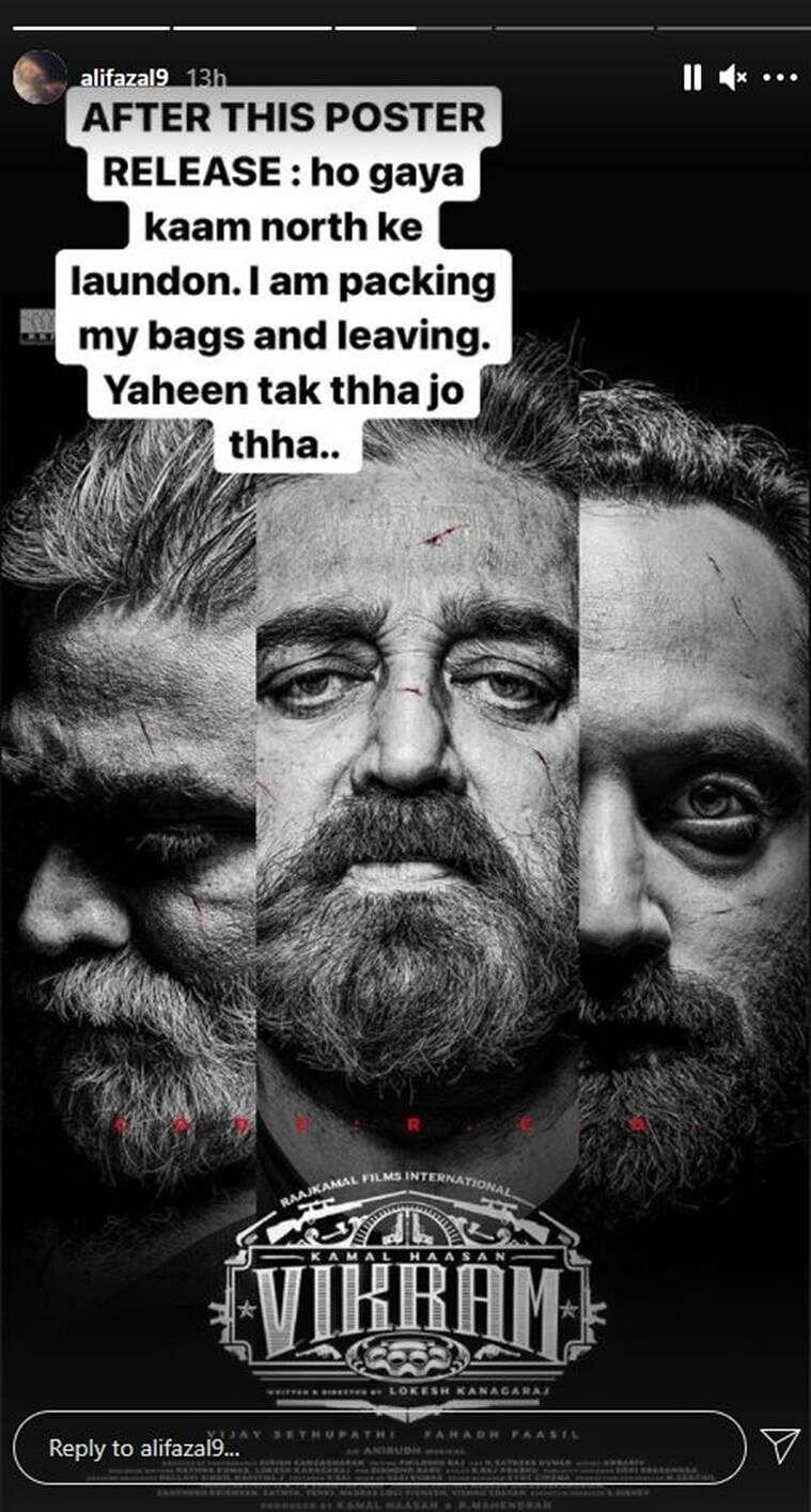'Ho gaya kaam north ke laundon': Ali Fazal's reaction to 'Vikram' poster featuring Kamal Haasan, Fahadh Faasil and Vijay Sethupati