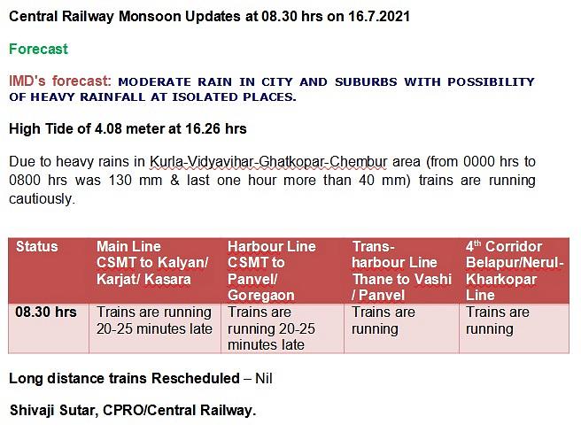 Mumbai: Latest updates - Heavy rains lash city; local train services hit