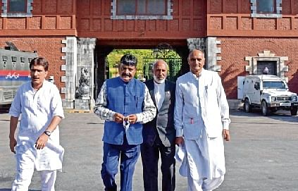 Representatives of political parties come out of the meeting with the Delimitation Commission members in Srinagar.