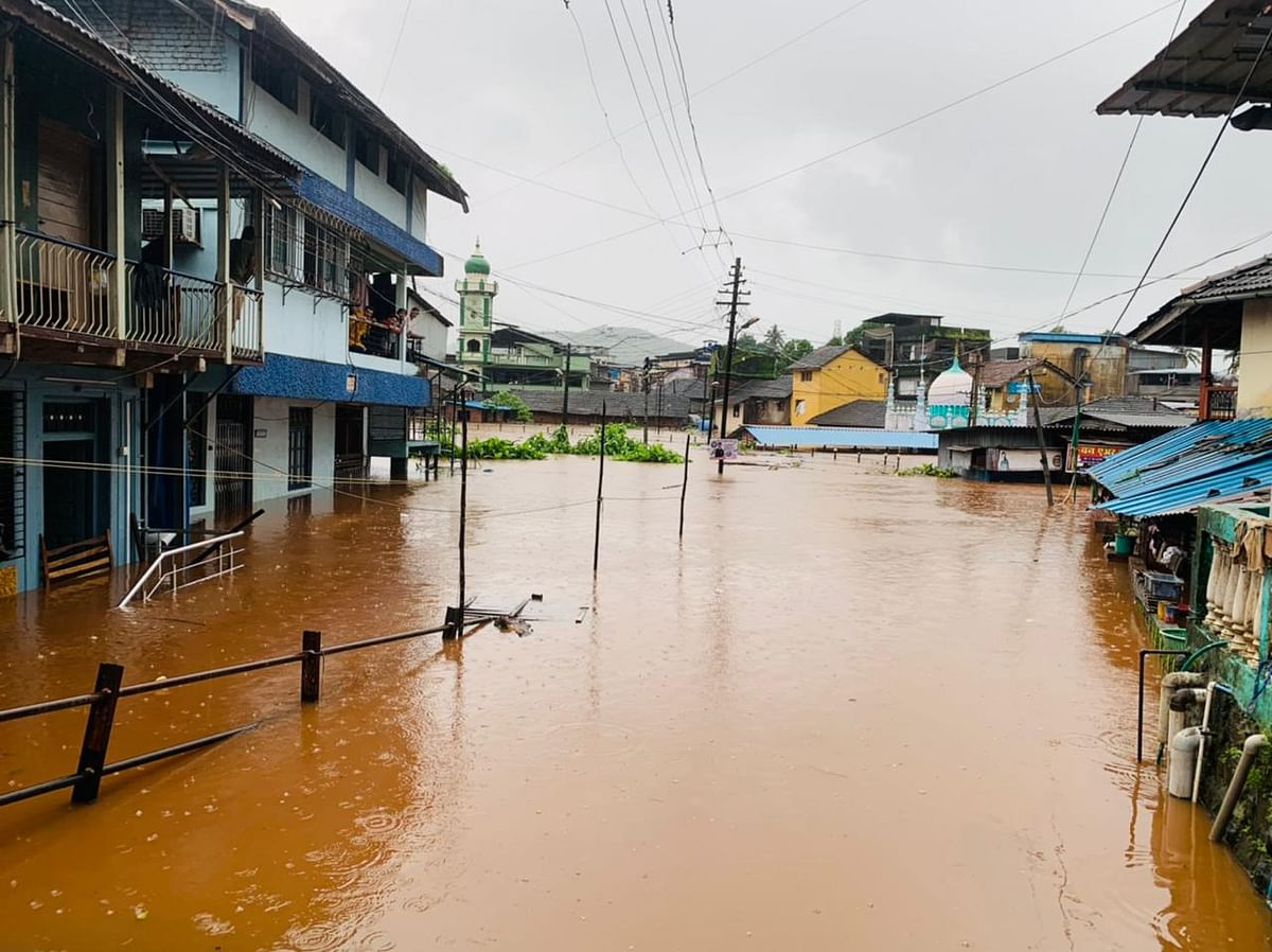 Houses submerged in flood water due to heavy rain in Chiplun, Ratnagiri on July 22, 2021.