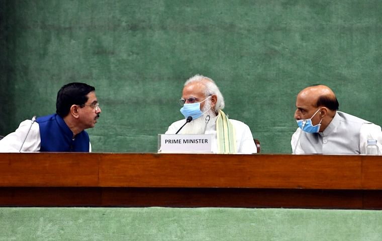 Prime Minister Narendra Modi, Defence Minister Rajnath Singh with Parliamentary Affairs Minister Pralhad Joshi during an all-party meeting