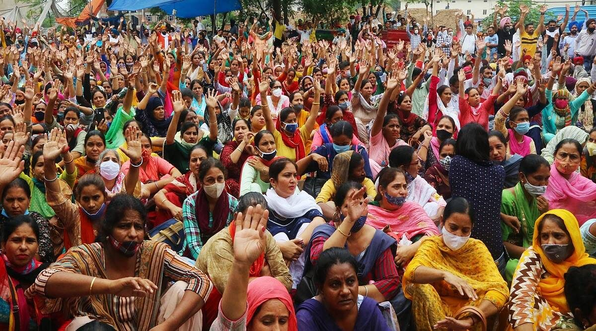 Teachers staged a sit-in Bhopal on Monday demanding appointment letters by July 15