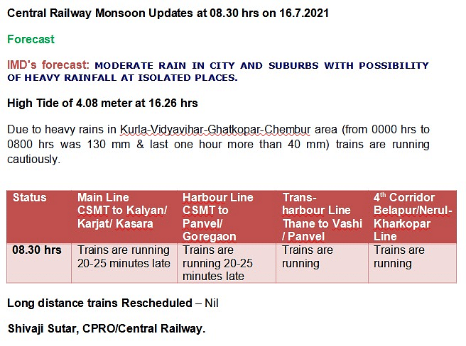 Mumbai Rains: From diverted bus routes, closed roads to local train status - Check city's traffic update here