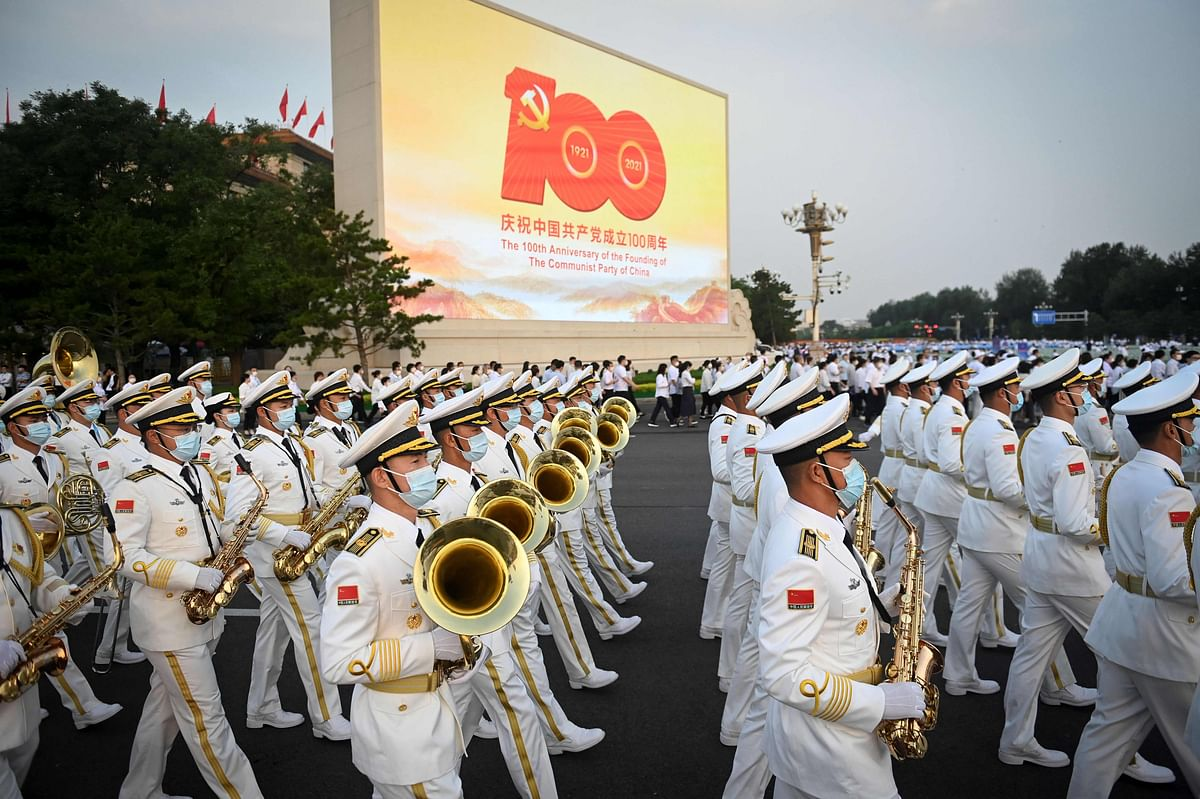 A Chinese military band arrives for celebrations in Beijing on July 1, 2021, to mark the 100th anniversary of the founding of the Communist Party of China.