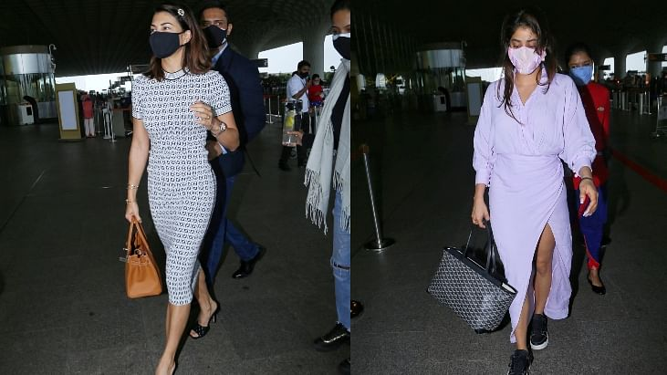 In Pics: Jacqueline Fernandez sashays at Mumbai airport in figure-hugging midi dress; Janhvi Kapoor opts for thigh-high slit lilac dress