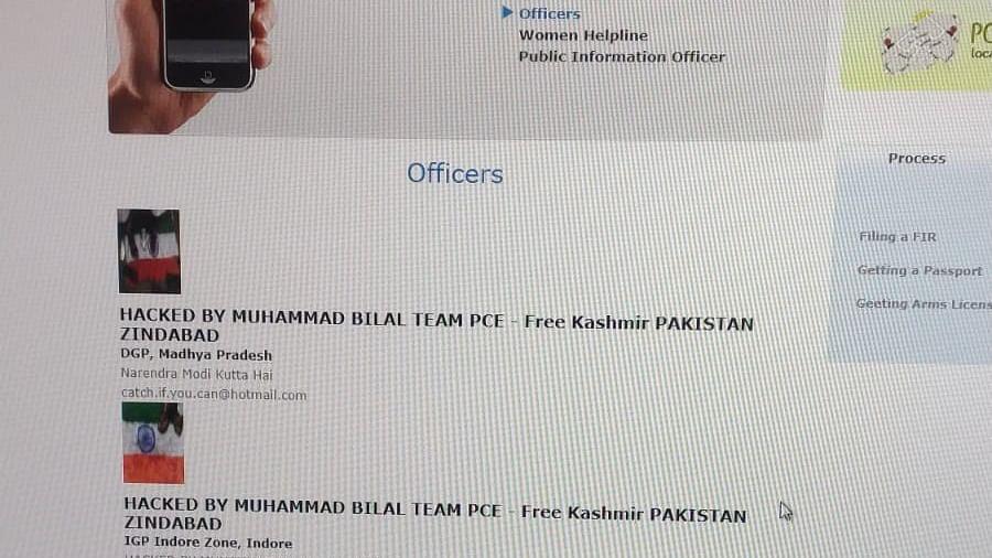 Screen shot of hacked Indore police website