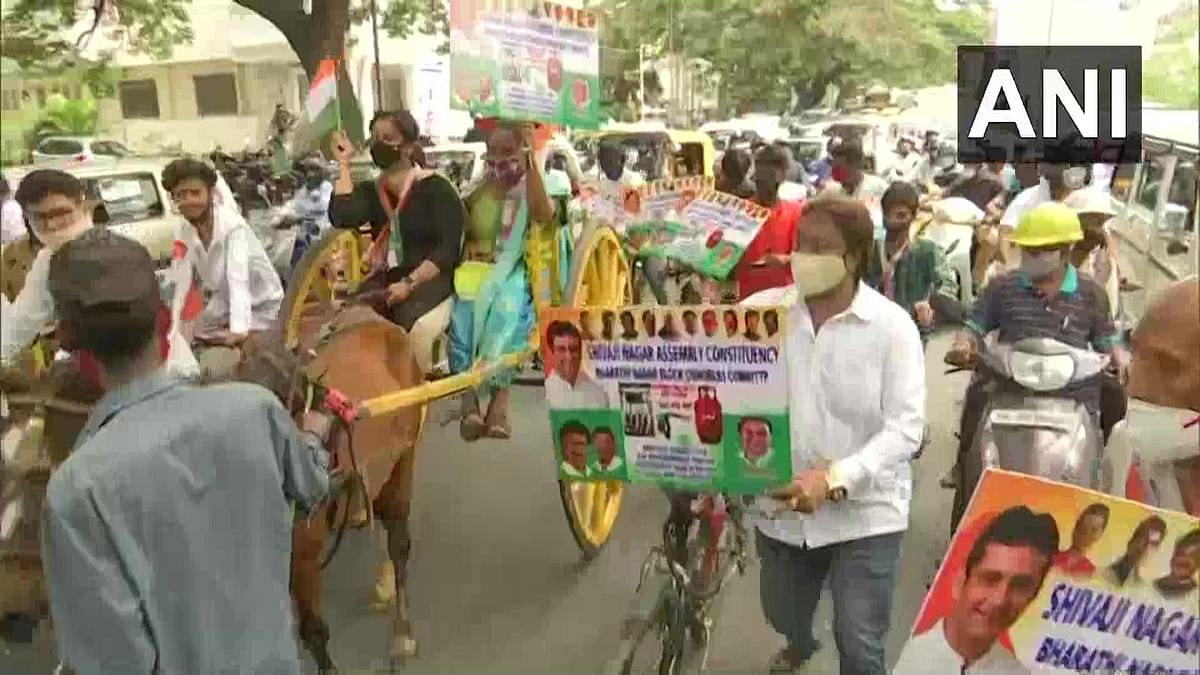Congress holds protest on the issue of rising fuel prices Bengaluru on Wednesday, July 7, 2021.