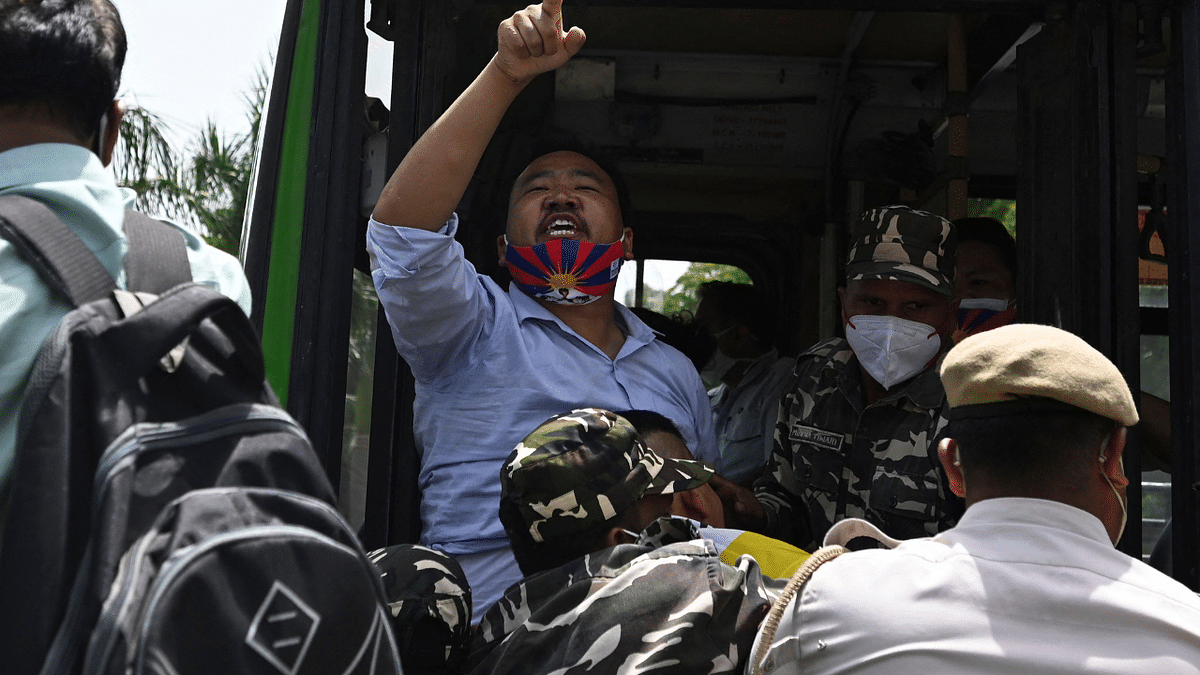 In Photos: Tibetan Youth Congress protest CCP centenary celebrations at Chinese Embassy in Delhi