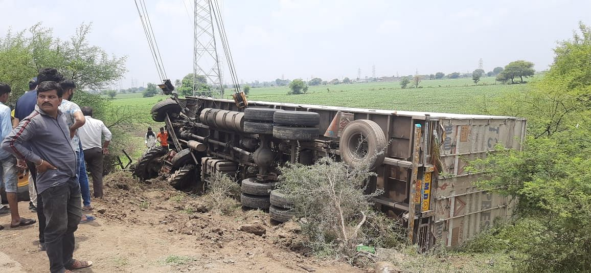 One of Tyre of truck got busted and it rammed into a tractor and a Loading truck