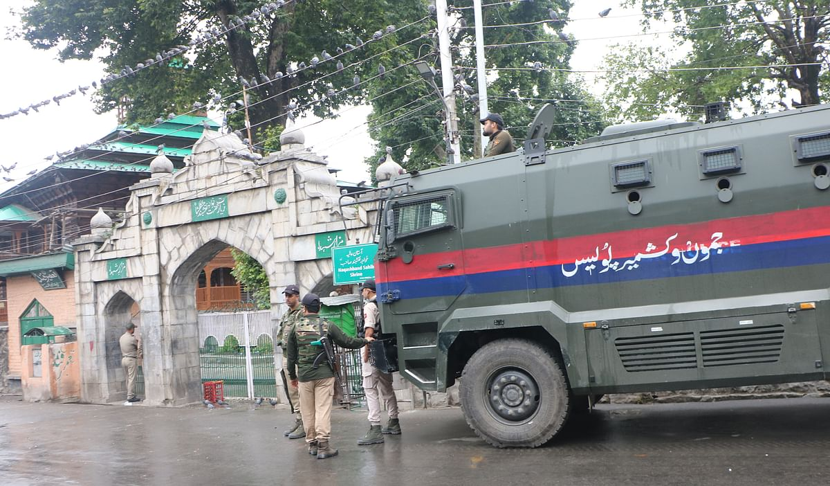 Security forces have been deployed outside the martyrs' graveyard in Srinagar on Martyrs' Day on July 13, 2021 in order to revent anyone from going inside.