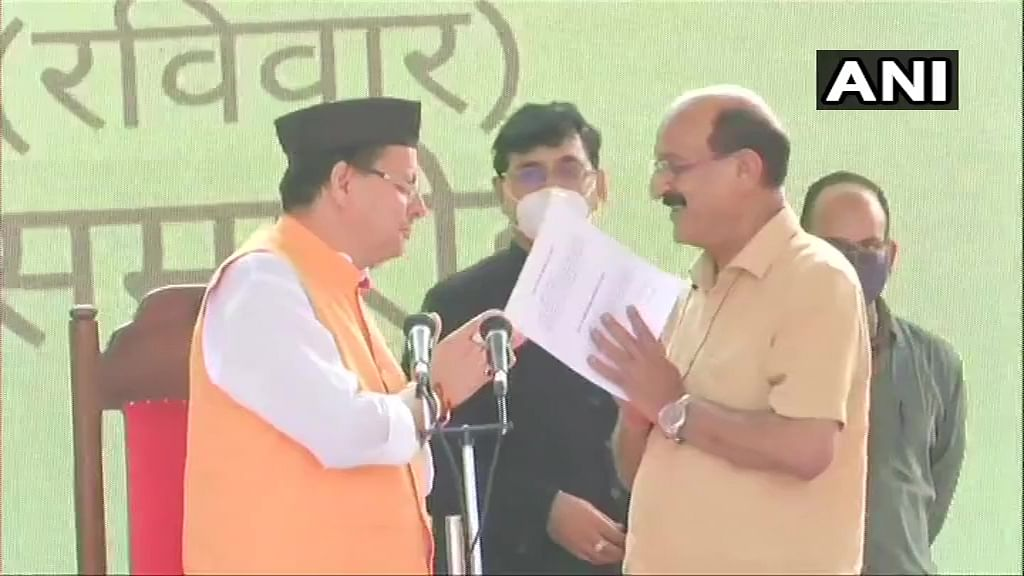 BJP MLA Subodh Uniyal took oath as Minister of Agriculture in the new State Cabinet of Uttarakhand at Raj Bhawan, in Dehradun on Sunday.