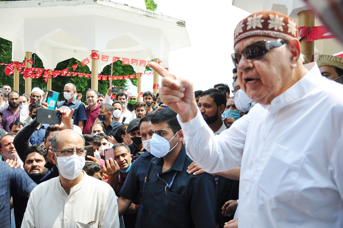Member of parliament and Jammu and Kashmir National Conference President, Dr. Farooq Abdullah addresses party workers at a gathering on the 21st death anniversary of his mother Begum Akbar Jehan at her grave Hazratbal in Srinagar on Sunday July 11,2021.