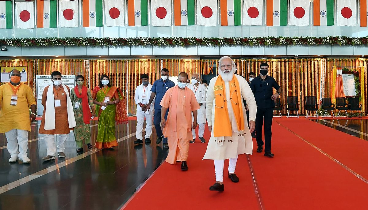 Prime Minister Narendra Modi along with Chief Minister of Uttar Pradesh, Yogi Adityanath visiting after inaugurating the International Cooperation and Convention Centre - Rudraksh, in Varanasi on Thursday.