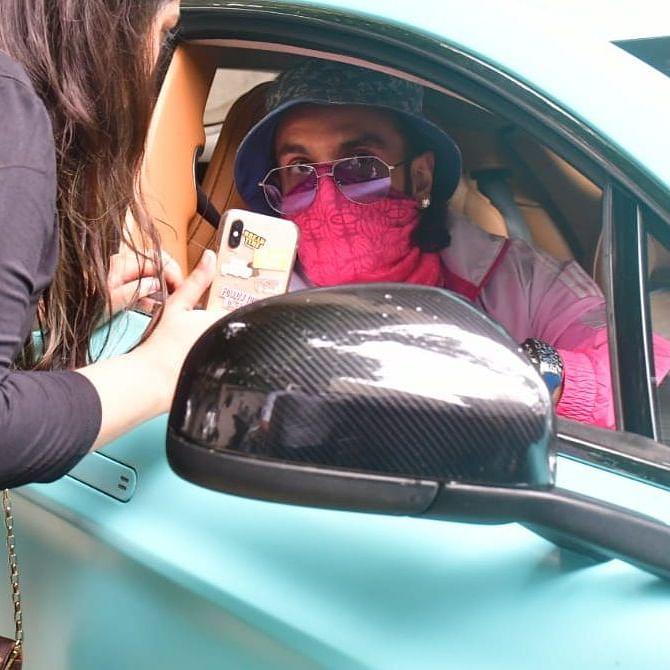 Watch: Ranveer Singh zooms off in his refurbished aqua blue car worth Rs 3.9 crore!
