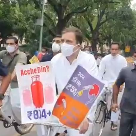 Rahul Gandhi, Opposition leaders reach Parliament on cycles to highlight high fuel prices