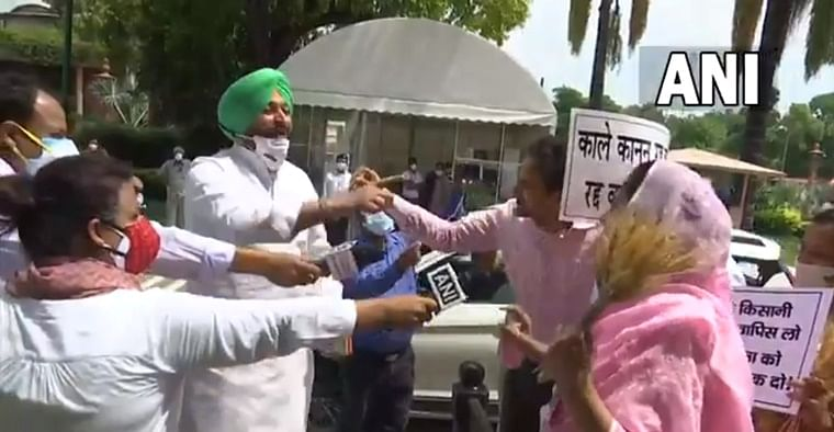 Watch: SAD's Harsimrat Kaur Badal Congress MP spar over on farm laws outside Parliament, video goes viral