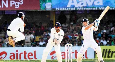 England batsman Matt Prior (R) stitched a 141-run partnership along with captain Alastair Cook to lead visitors  recovery after they were made to follow-on on day four of the first Test at Motera in Ahmedabad on Sunday.