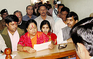 Rajasthan BJP chief Vasundhara Raje filing her nomination papers from the Jhalrapatan assembly seat in Jhalawar district on Monday.
