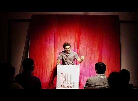 Participant Dhruv Lohumi narrating his story 'The Smokescreen' at the Tall Tales event held on October 25 at Studio X, Fort. Picture by Neha Mendiratta Khullar.