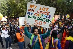 Members of the LGBT community attend the 5th Delhi Queer Pride parade in New Delhi.