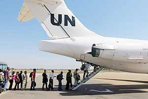 United Nations' non-critical staff boarding a UN plane<br />to be relocated from Juba to Entebbe on Sunday.