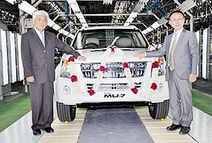 Isuzu Motor India President and MD Takashi Kikuchi,<br />Executive Vice-President, Shigeru Wakabayashi at the roll out of their domestically manufactured luxury sports utility vehicle MU-7 from Thiruvallur plant. The Japanese auto-maker is setting up its first plant in South India at an investment of Rs 3,000 crore to produce light commercial vehicles and sports utility vehicles.