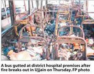 Old ambulances charred as fire breaks out at district hospital