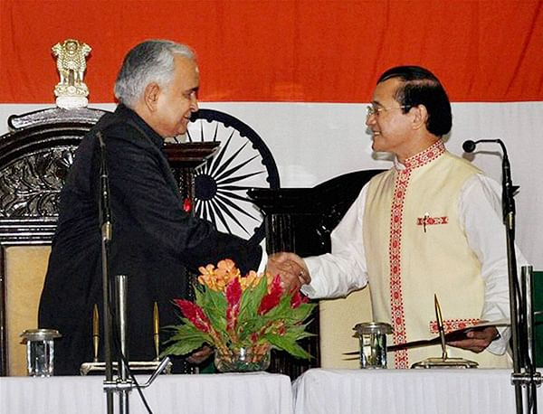 Nabam Tuki (Right) is sworn-in as the eighth Chief Minister of Arunachal Pradesh by  Governor Lt Gen (Retd) Nirbhay Sharma in Itanagar on Sunday.