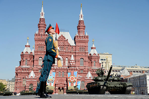 Russian T-90 tanks roll at the Red Square in Moscow, during a Victory Day parade.